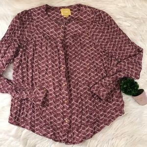 Anthropologie Burgundy White Sz Small Shirt
